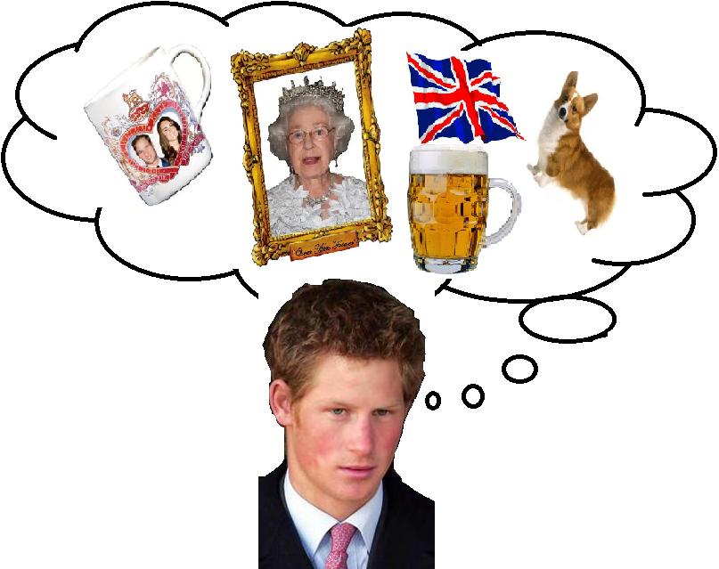 Une Queen Mum, un mug, une bière, un cooggie : pas de doute, on est bien en Grande-Bretagne !