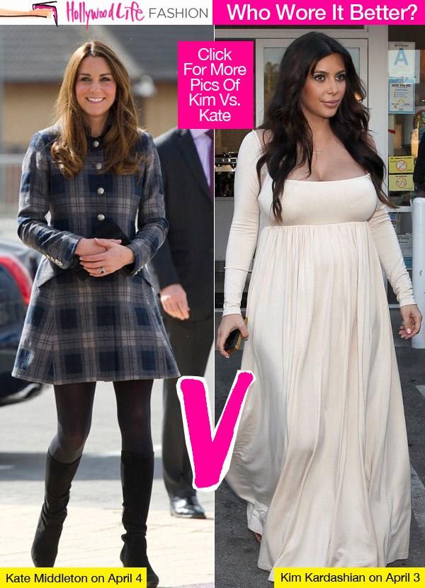 Etude comparative d'un tabloïd entre Kate et Kim. C'est sûr qu'avec l'américaine Kim Kardashian, enceinte des œuvres de Kenny West, il y  a à la fois à boire et à manger...
