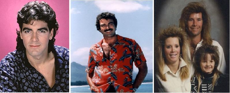 Eh oui, c'est l'ami Clooney dans les années 80 ! A droite, une famille anonyme victime de la coupe mulet.Seul Tom Seleck, alias Magnum s'en sort avec sa moustache et sa chemise hawaïenne...