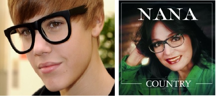 Justin Bieber versus Nana Mouskouri. Mêmes lunettes certes, mais l'un des deux n'aura pas la même longévité dans le show bizz