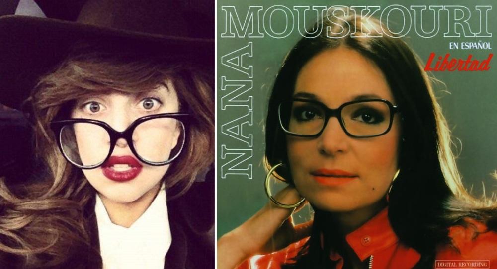 Lady Gaga versus Nana Mouskouri. Nana, elle, ne triche pas. Elle est vraiment myope et c'est pas du chiqué !