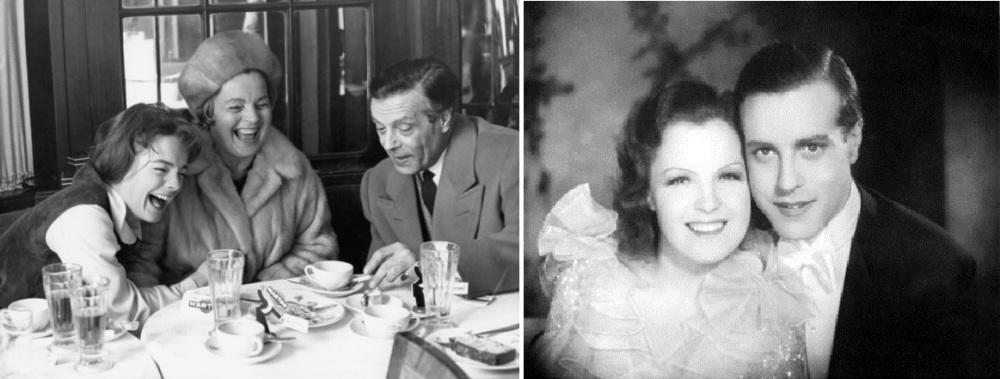 A gauche : Romy Schneider et ses parents sur le tournage du Cardinal en 1963. A droite : Mgda Schneider et Wolf Albach-Retty, petits fiancés du cinéma allemand dans les années 20.