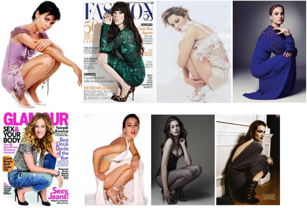 """Compilation de pose """"à croupetons"""", des années 90 à nos jours. Manifestement, les actrices d'Hollywood connaissent très bien les WC à la turque..."""