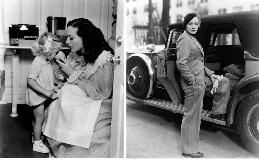 Quand Hollywood mentait... A gauche, Joan Crawford en mère exemplaire nourrissant sa fille adoptive. A droite, Marlene Dietrich prête pour partir aux studios au volant de sa voiture. Dans la vraie vie, Joan Crawford ne s'est jamais occupée de sa fille adoptée (celle-ci écrira plus tard une biographie vengeresse sur cette mère actrice ogresse) , tandis que Marlene Dietrich était loin de l'image de femme indépendante que l'on a voulu donner. En effet, Lili Marlene était incapable de conduire et ne passa jamais le permis !