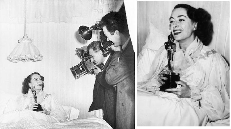 """A l'époque où Hollywood maîtrisait l'image de ses stars... Joan Crawford, 1946, grippée mais ongles laqués, recevant son Oscar pour """"Mildred Pierce"""", sous les caméras et les photographes."""
