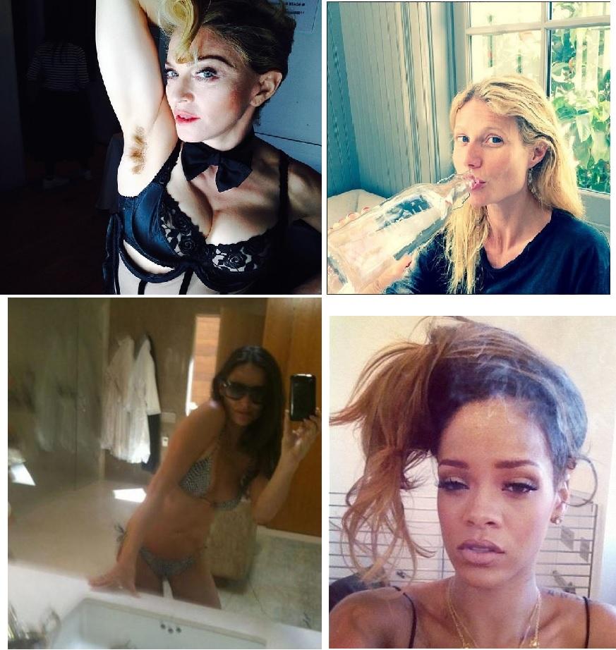 Le selfie, maladie du XXIème siècle chez les stars. A gauche, Madonna ne nous épargne pas sa pilosité des aisselles raccord avec sa couleur de cheveux, tandis que Gweneth Paltrow nous montre comme elle est jolie même en buvant une bouteille d'eau. Pendant ce temps, Demi Moore, qui ne fait jamais les choses à moitié, pose en bikini et salle de bain dégueulasse. Rihana un lendemain de cuite, aurait aussi mieux fait de s'abstenir...