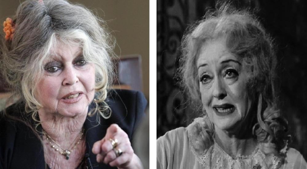 """Avec Brigitte et ma tante, on peut être et ne pas avoir été... (A gauche, photo récente de Brigitte Bardot; à droite, Bette Davis dans """"What's happenned to Baby Jane?"""","""