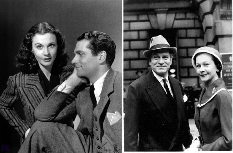 A gauche, Vivien Leigh et Laurence Olivier au temps de l'amour fou, 1941 environ. A droite, environ 20 ans plus tard. Les sentiments sont partis, les amoureux ont vieillis, mais e sourire de façade reste...