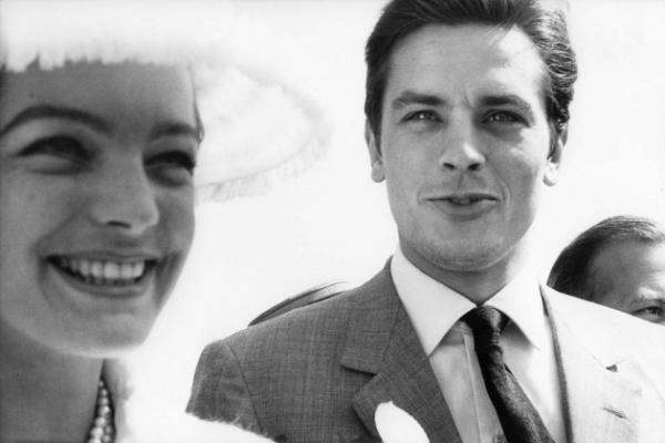 Romy et son guépard, Alain Delon... Festival de Cannes, 1963.