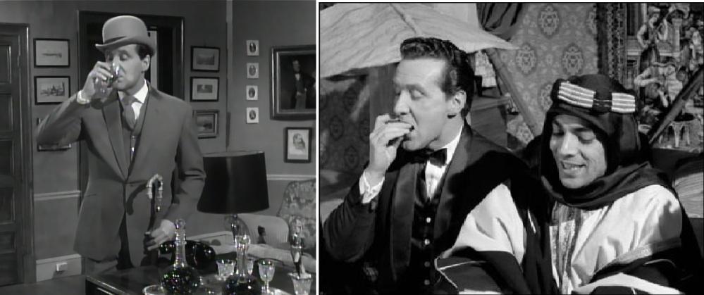 Avec John Steed, pas de privation : il n'y a pas d'heure pour se faire un petit plaisir ou boire un sherry...