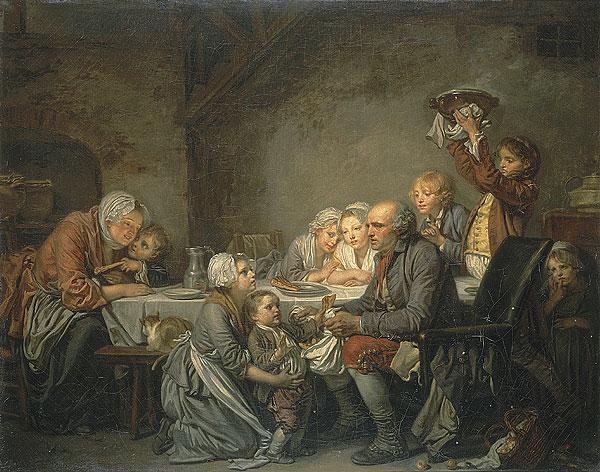 """""""Courage, il y en a encore une deuxième qui arrive..."""" ( Tableau Le gâteau des rois """" de J.B Greuze)."""