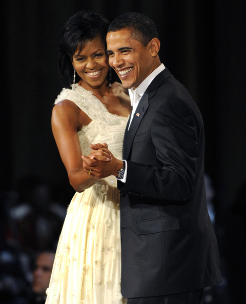 President Barack Obama and his wife Michelle dance during the Commander in Chief's Ball at the National Building Museum in Washington January 20 2009 . AFP PHOTO / TIMOTHY A. CLARY (Photo credit should read TIMOTHY A. CLARY/AFP/Getty Images)