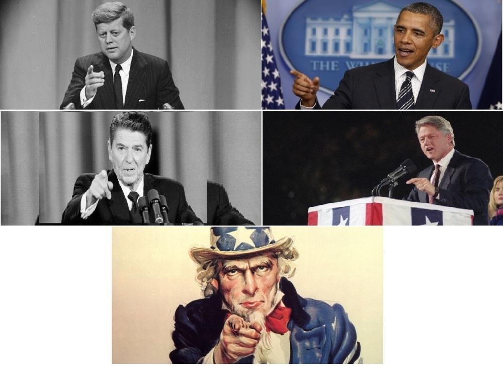 Depuis Uncle Sam, tous les présidents américains ont le réflexe pavlovien du doigt pointé vers l'assistance avec autorité.