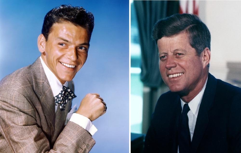 Frank Sinatra ( à gauche) et John Kennedy (à droite), même dentition et même soutire d'un optimiste éclatant. Le crooner/acteur vs le président.